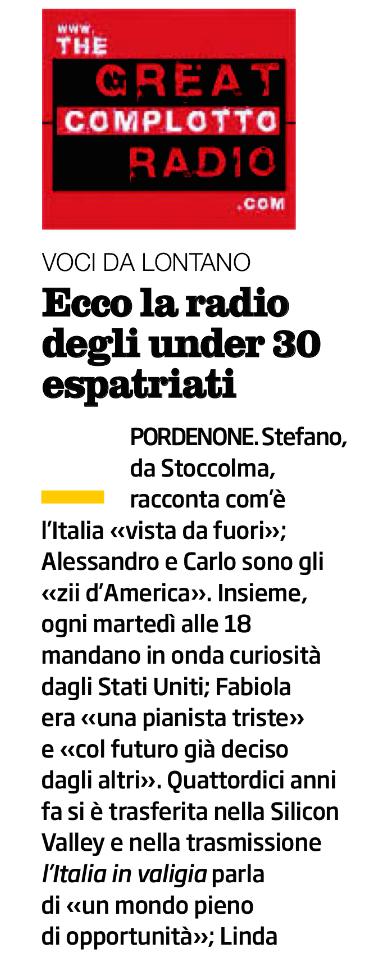 The Great Complotto Radio su Venerdì di Repubblica